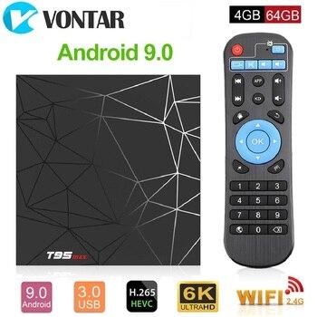 Android 9,0 ТВ коробка 4 Гб 64 Гб Allwinner H6 4 ядра 6 K H.265 USB3.0 2,4G, Wi-Fi, ТВ-приставка T95 max googleplayer Youtube Декодер каналов кабельного телевидения T95max