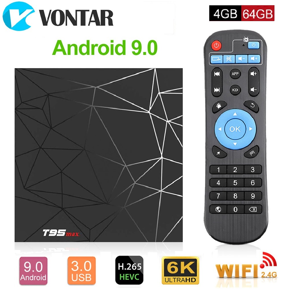 Android 9.0 TV Box 4GB 64GB Allwinner H6 Quad Core 6K H.265 USB3.0 2.4G Wifi HDR T95 max GooglePlayer décodeur Youtube T95max