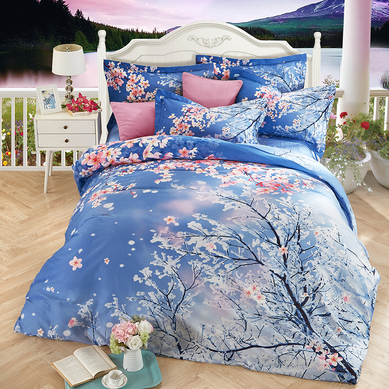 Cherry blossoms print duvet cover set bedlinens high quality thick sanding cotton Queen King size bedding sheets