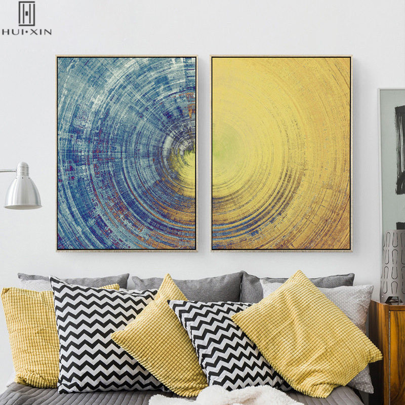 Nordic Abstract Canvas Printing Modern Yellow And Blue Tint Circle With Same Direction Line Decorative Paintings For Home Decor