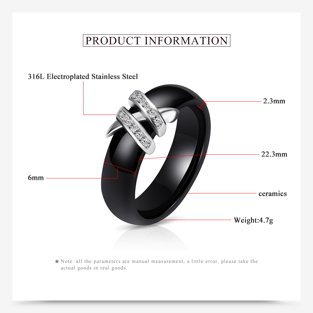 Best 6mm High Quality Black And White Simple Style Two Line Crystal Ziron Ceramic Rings For Women Fashion Jewelry Gift 3