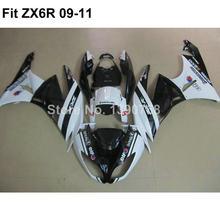 Motorcycle fairing kit for Kawasaki Ninja white black 636 ZX6R 09 10 11 fairings ZX-6R 2009 2010 2011 VI09