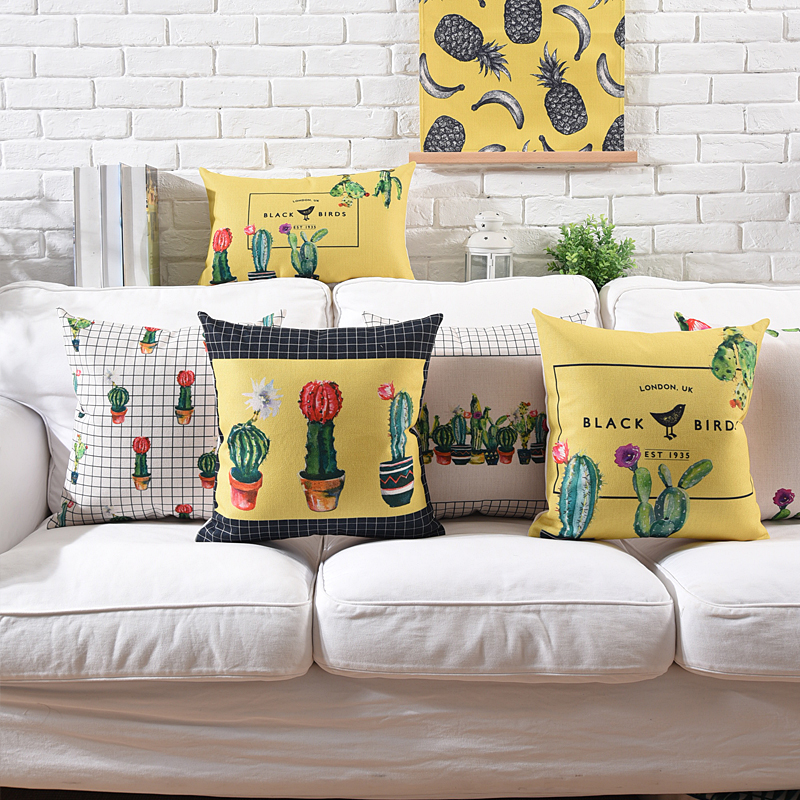 Ins Decorative cushion covers Cute Cactus Plant pots/Yellow Printed Pillow Cover Home Cafe Office  Pillow Case 45x45cm/60x60cm tassels pillow