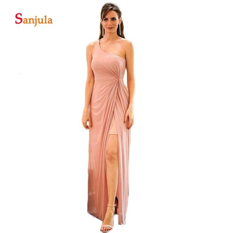 Blush Pink A-Line One Shoulder   Bridesmaid     Dresses   2019 Pleats Leg Slit Wedding Party   Dress   for Women Simple Maid of Honor D343