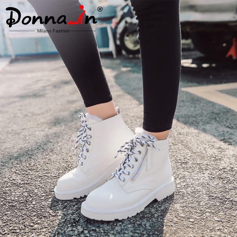 Botas de tobillo de mujer de lana caliente Donna in Otoño Invierno zapatos de plataforma planos de encaje de cuero genuino botas de nieve con piel de mujer-in Botas hasta el tobillo from zapatos    1