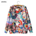 2016 Women Animals Digital Printing Hoodies O'-neck Women Hoodies Moleton Feminino Sweatshirt
