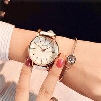 Минимализм повседневное для женщин часы Простой стильный белый кварцевые наручные часы для леди роскошные платье в деловом стиле