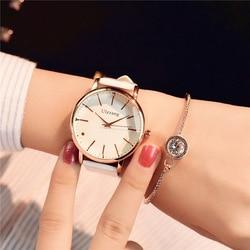بساطتها ساعة نسائية عادية بسيطة أنيقة بيضاء كوارتز ساعة اليد لسيدة الأعمال الفاخرة فستان ساعة امرأة الأعمال