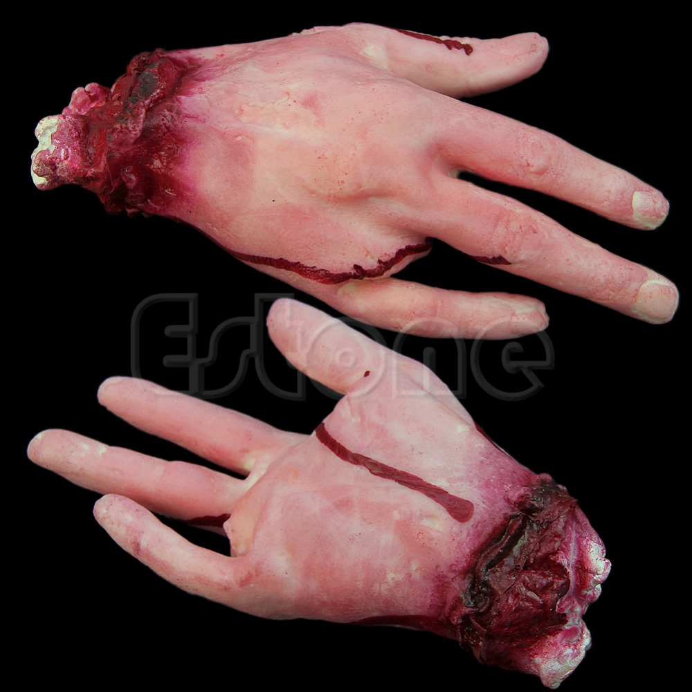 Halloween <font><b>Horror</b></font> Props Lifesize Bloody Hand Haunted House Party Scary Decoration image