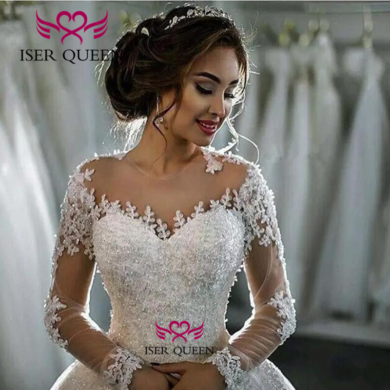 Pearls Beautiful Bright Illusion Long Sleeves Wedding Gown Embroidered Lace Button Back Court Train Pure White Bride Dress W0079