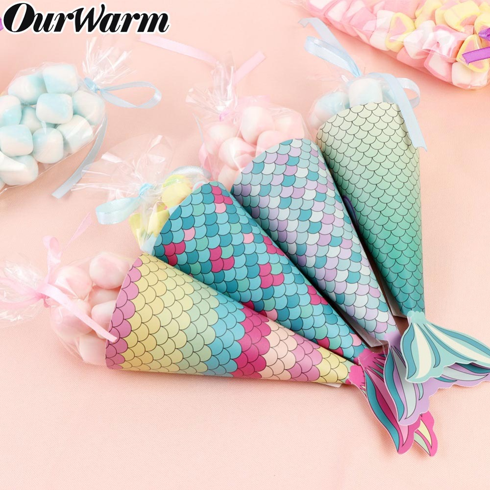 OurWarm 10/12PCS Mermaid Paper Candy Gift Box Hanging Dessert Bags Gifts Girls Wedding Birthday Party Favors Decoration