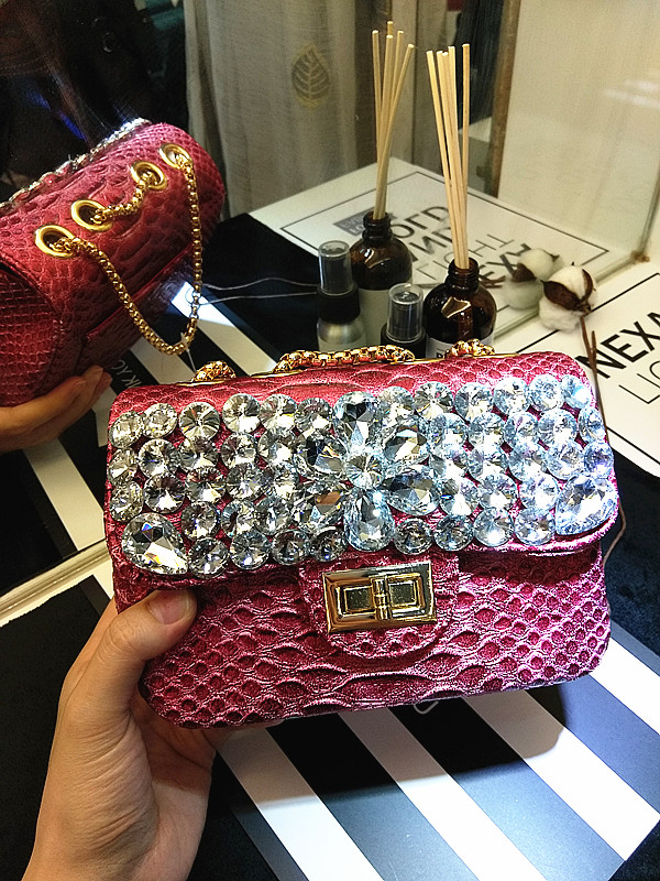 Luxo diamante sacos de noite moda crocodilo