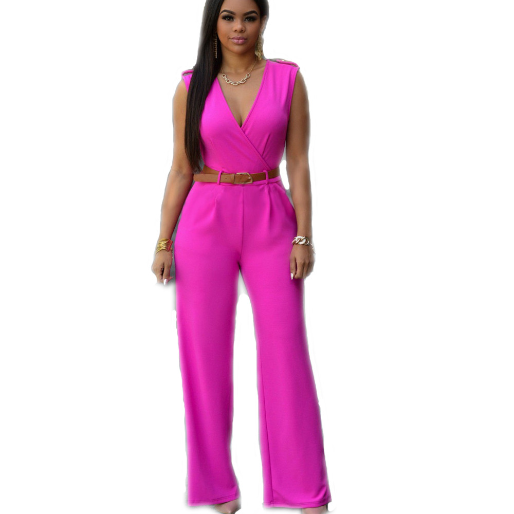 Fashion Rompers Women Long Jumpsuit V Neck Solid Color ...
