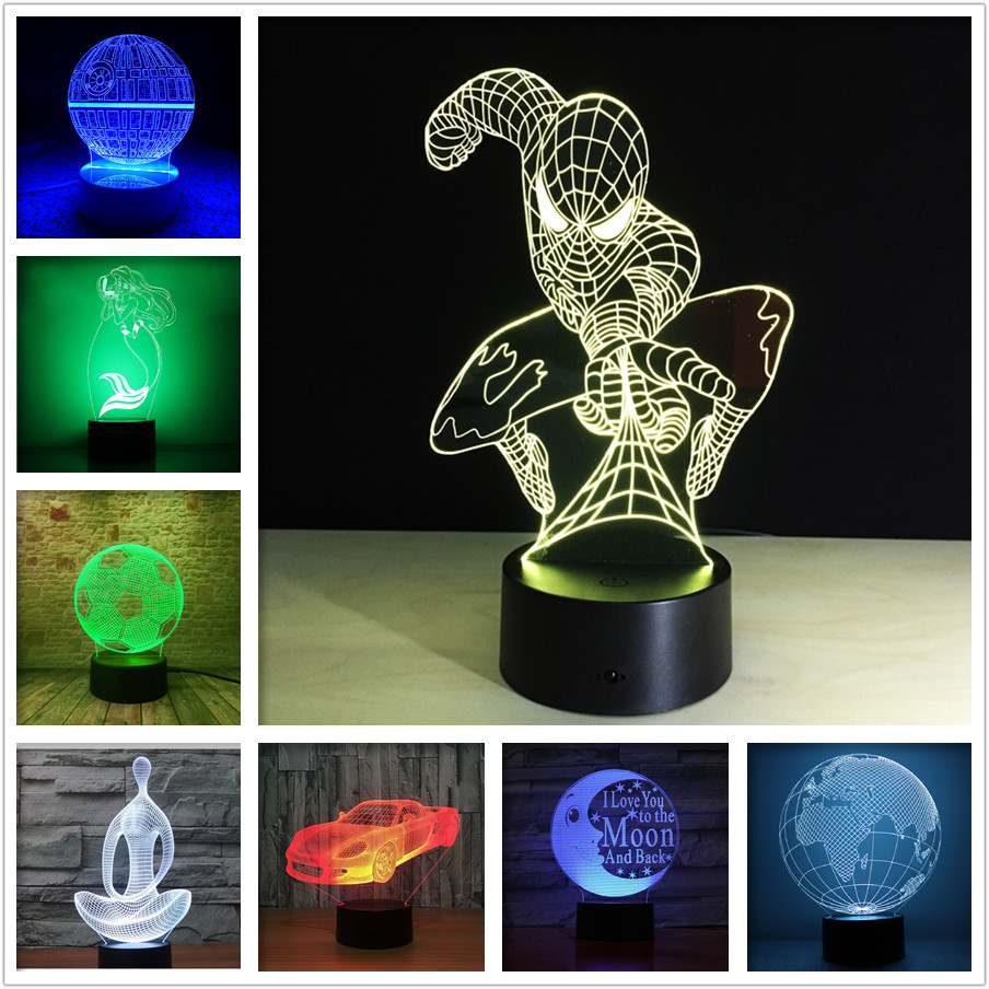 3D LED Night lamp 7 color change ball souvenir night light home decor table lamp kids bedroom Night lights led chelsea football club 3d lamp usb 7 color cool glowing base home decoration table lamp children bedroom night lights