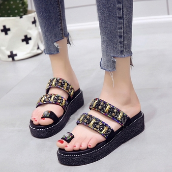COOTELILI Summer Slippers Women Slides Flat Platforms Thong Sandals Woman Causal Wedge Women Shoes Slip on Crystal