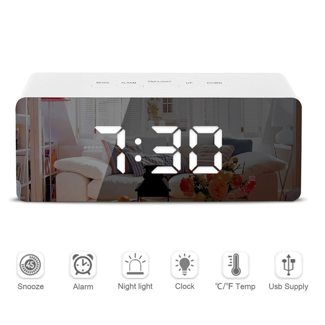 Светодиодный зеркальный будильник, цифровой Повтор, настольные часы, пробуждение света, электронные часы с большим температурным дисплеем,...