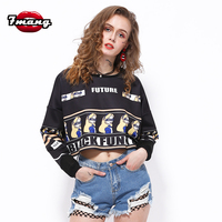 2016 New Atumn Women Fashion Punk Cute Cartoon Printing Short Sweatshirts Harajuku Crop Top Black White