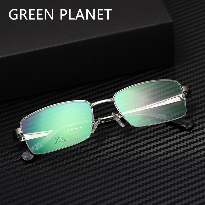 Metal Men Glasses Frame Titanium Half Rim Optical Clear Temple Designer Brand Fashion Myopia Transparent Eyeglasses #FV1016