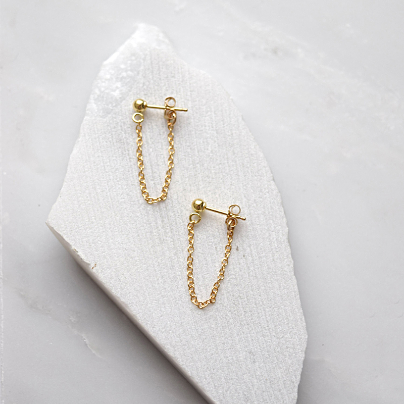 Lwong 4mm gold color ball chain ear jacket earrings for for Women s minimalist jewelry