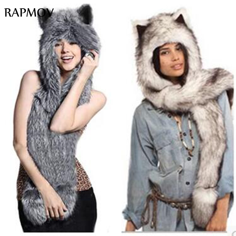 winter hats for women Faux Fur Hood Animal Hat Ear Flaps Hand Pockets 3in1 Animal Hood Hat Wolf Plush Warm Animal Cap with Glove