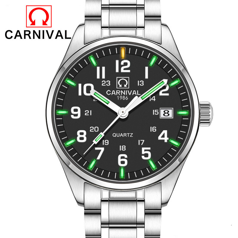 Tritium Gas Luminous Watch Carnival 2017 Luxury Brand Wen Military Sports Watches Men Quartz Watch Black Stainless Steel Strap