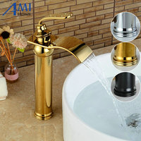 Basin Faucets Bathroom Basin Sink Brass Mixer Tap Hot Cold Golden Polish Faucet Waterfall Mixer Bathroom Faucet