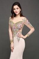 Robe de Soiree Longue Luxury Beaded Lace Mermaid Long Sleeve Evening Dress  Sexy Sheer Back Evening Gown Vestido de Festa 2