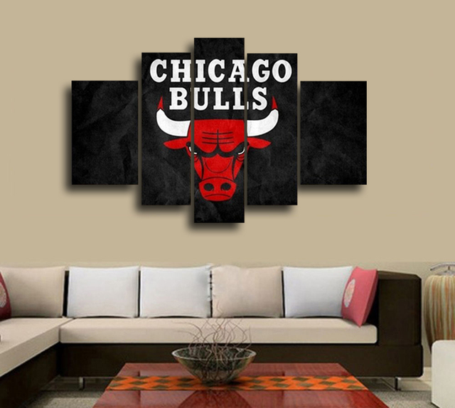 Nba Chicago Bulls Wall Decoration Abstract Canvas Oil Painting Living Room Basketball Fans Modern Home Decor