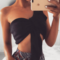 AZULINA Sexy Women Tank Tops Cropped Camis Spring Summer 2017 Short Knitted Black Fashion Female Halter Crop Tube Top Femme