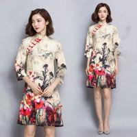 2016 Folk Style High Grade Dress Cheongsam Retro Temperament Chinese Oriental Dresses