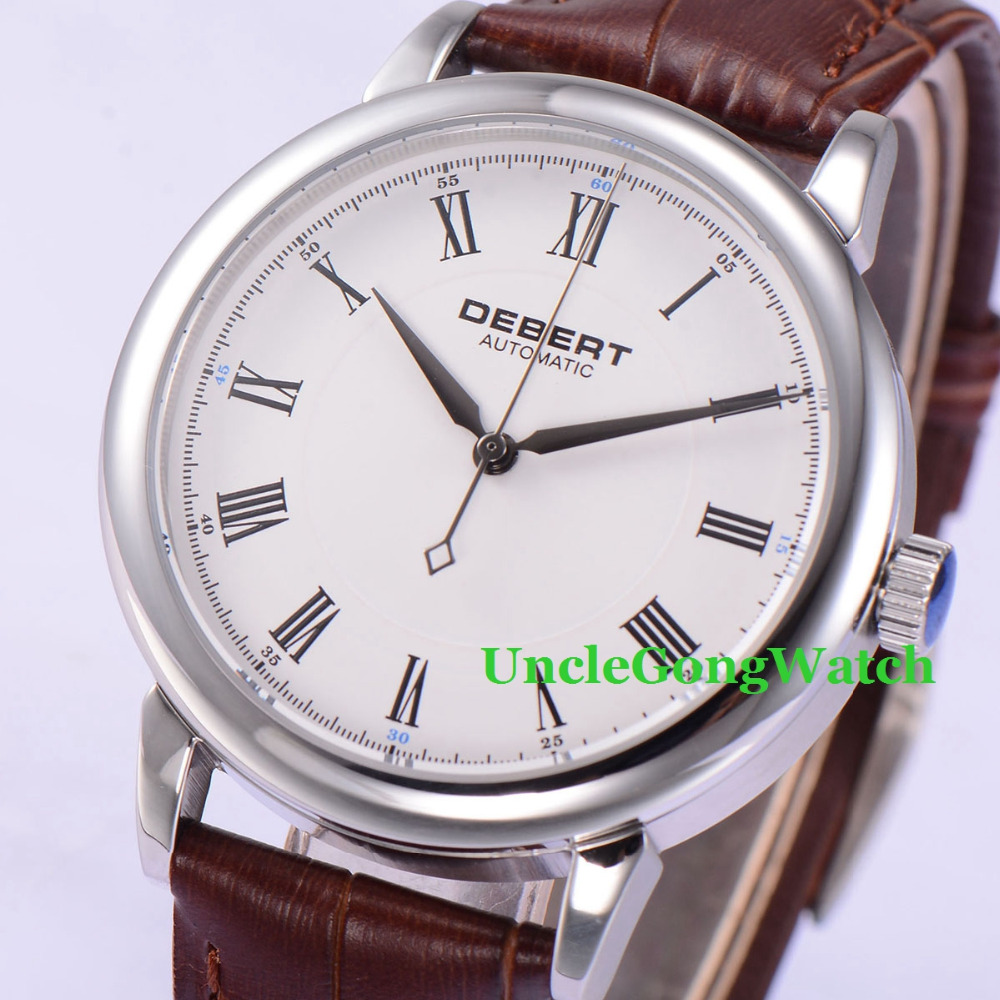 Здесь продается  Debert 40mm Polished Case White Dial sapphire glass Roman Marks Brown Leather Strap Mens Automatic Watches   Часы