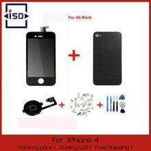 Negro pantalla táctil + pantalla LCD digitalizador + vidrio cubierta de la contraportada + Home Button pieza de recambio para el iPhone 4 G y herramientas de tornillo