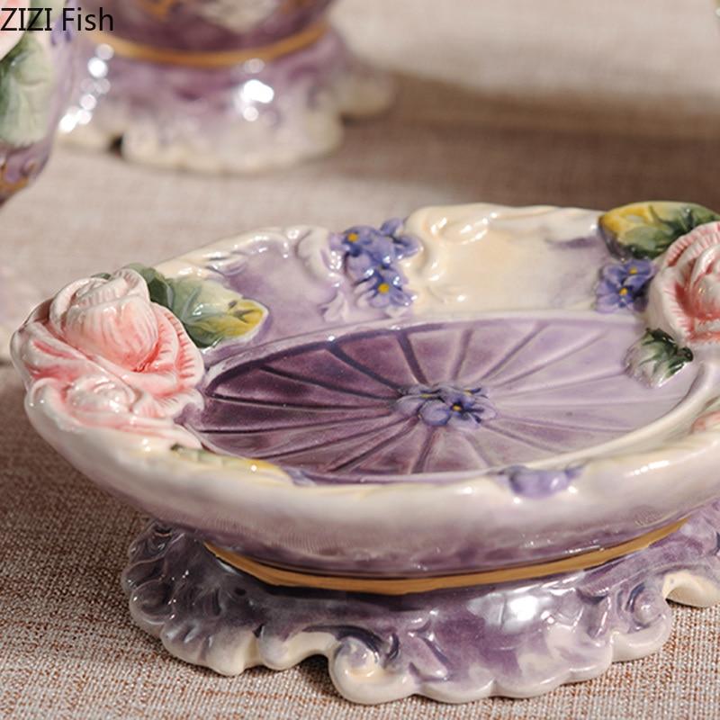 5 unid/set conjunto de accesorios de baño rosa vintage de cerámica herramientas de lavado botella boquilla taza jabón cepillo de dientes artículos para el hogar-in Sets de accesorios de baño from Hogar y Mascotas    3
