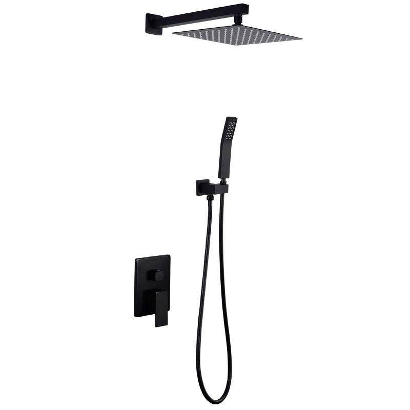 Solid Brass Black Shower Set Bathroom Accessories Concealed Shower Head Set Luxury Bathroom Wall Concealed Rain Shower System