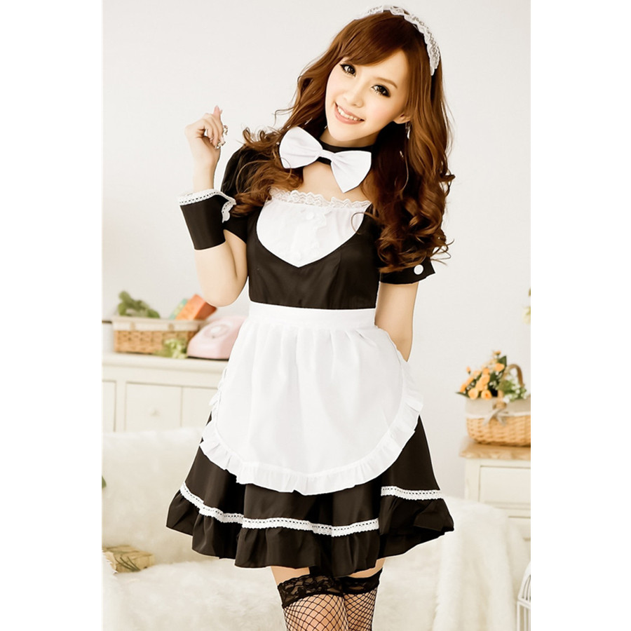 White apron maid - Women Lingerie Underwear Temptation French Apron Cosplay Maid Servant Sexy Costumes Game Uniform Babydoll Dress Plus