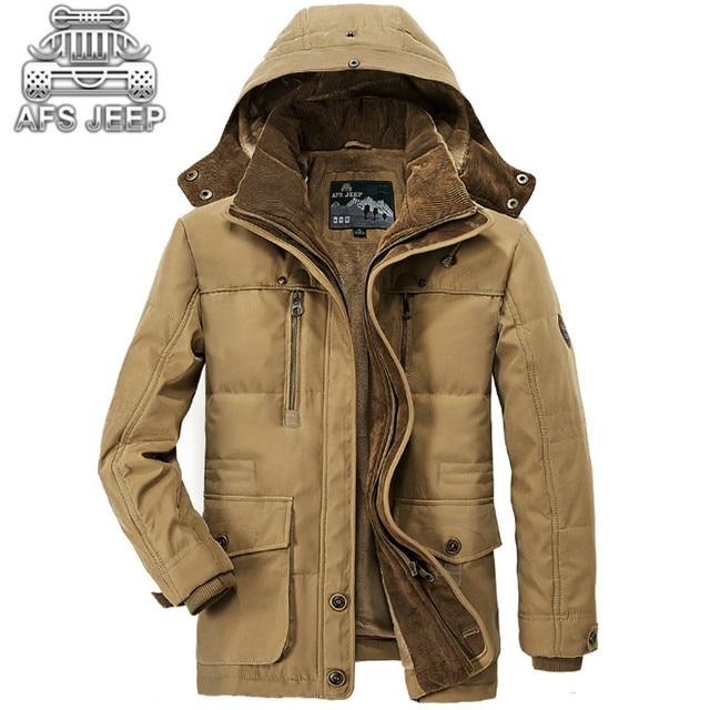 Parkas casacos de Inverno dos homens Novo 2016 Marca Original AFS Jeep Quente Grosso Militar Lazer Jaqueta dos homens