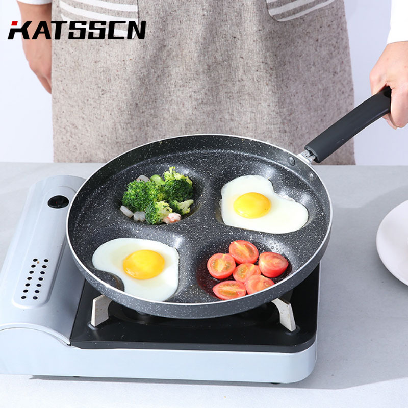 2019 Four-Hole Omelette Pot Eggs Ham Pancake Maker Frying Non-Stick Pan No Oil-Smoke Easy To Clean Multifunction Breakfast Pans