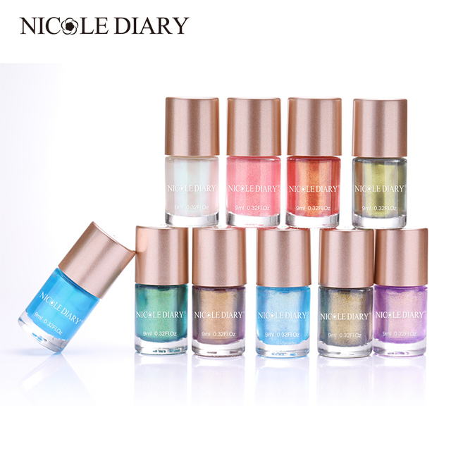 NICOLE DIARY 9ml Nail Polish Pearl Mermaid Nail Art Lacquer Varnish Water Based Manicure Tips Nail Polish Vernis 10 Colors