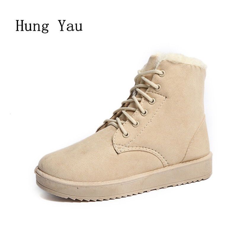Women Snow Boots Ankle 2017 Winter Warm Female Casual Shoes Platform Woman Fur Round Toe Boots Flat Fashion Comfortable winter new fashion shoes women boots ankle warm snow boots with fur zipper platform flat boots camouflage cotton shoes h422 35