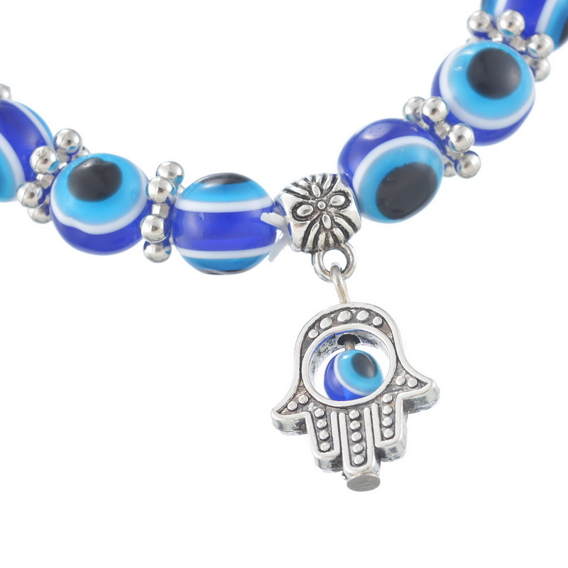 BRS002 Hamsa Fatima Hand Muslim Turkish Blue Evil Eye Bracelet Handmade Beads Bracelet Bangles For Women & Men Fashion Jewelry