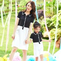 Mother Daughter Dresses Mom Girls Long Tshirt 2019 Mommy Girl Twinning Daily Dress Vestidos Family Match Outfits PB375