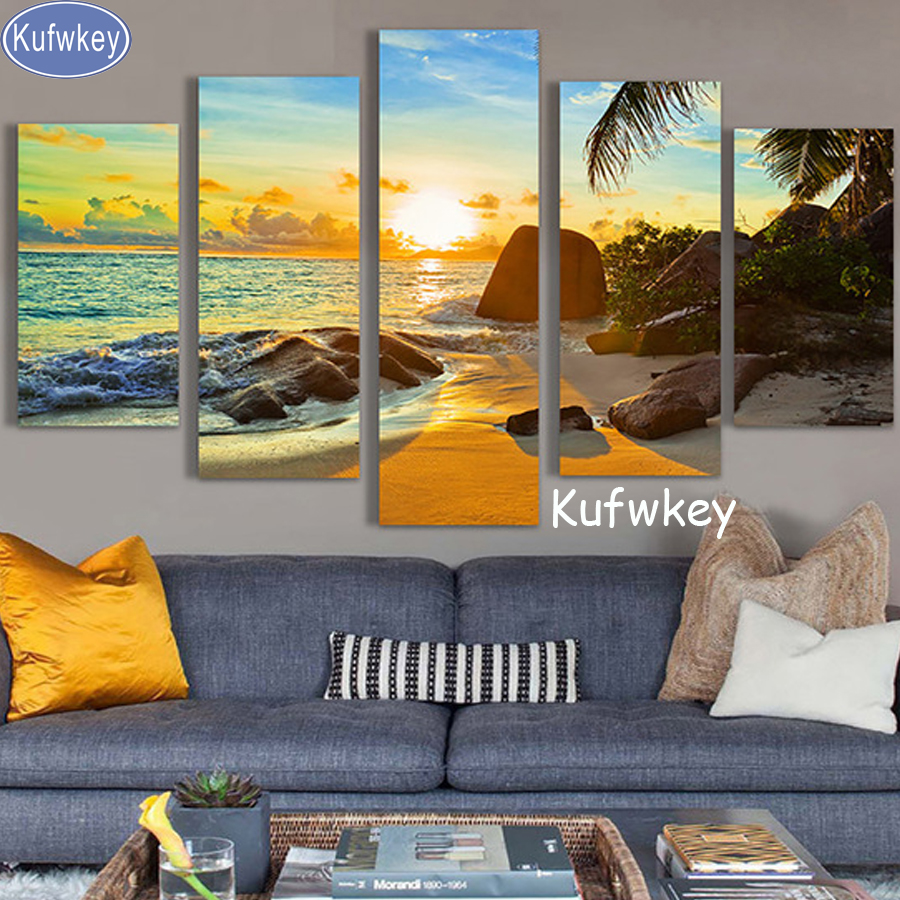 5pcs/set,Full,Diamond Embroidery,Sunset Beach Seascape,5D DIY Diamond Painting,Stitch Cross,Diamond Mosaic,almaznaya,Still life