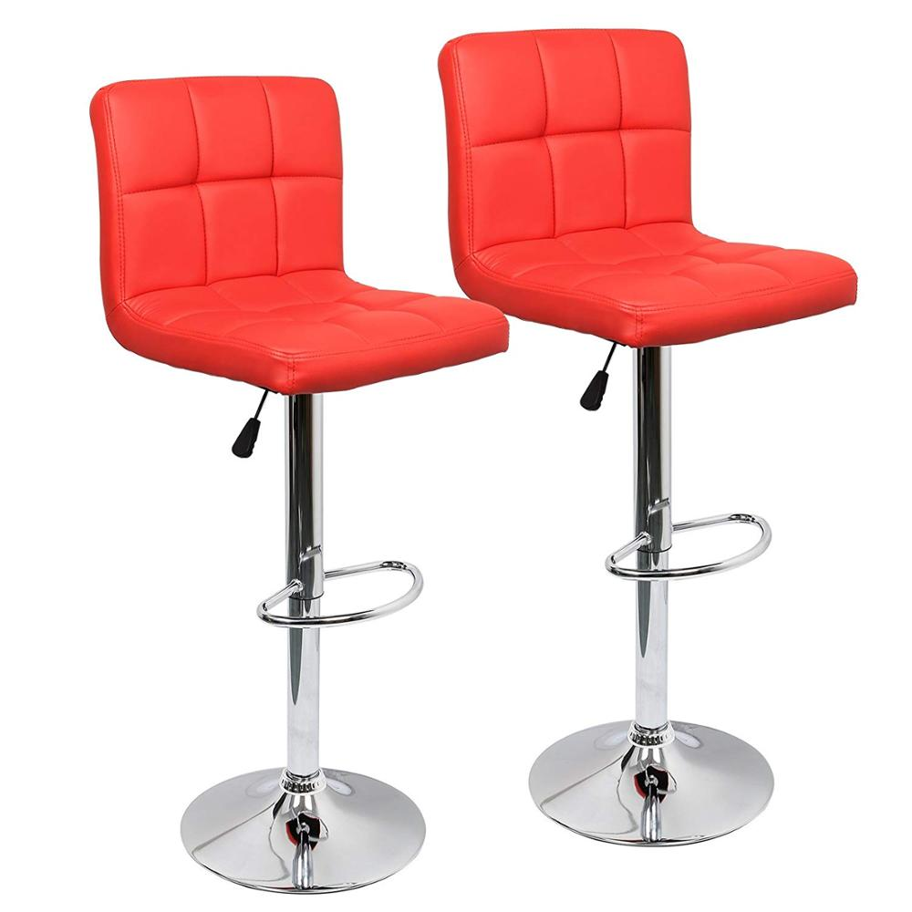 Adjustable Swivel Bar Chair Kitchen Bar Stools Set Of 2,Faux Leather Gas Lift Modern Square Kitchen Chairs With Backrest