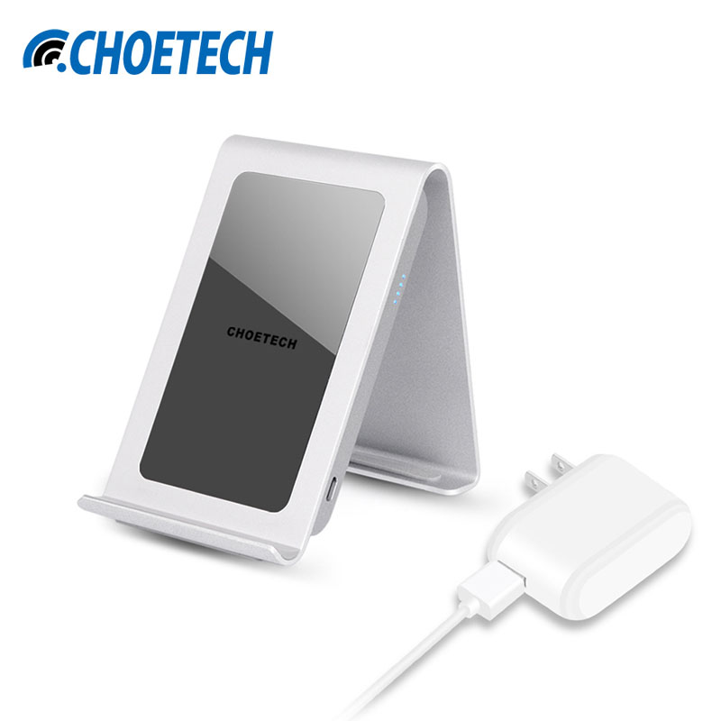 CHOETECH Iron Stand 3 Coils QI Wireless Charger Charging Pad With US EU UK Adapter For
