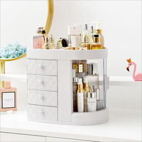 New quality cosmetics skin care storage box dust 4 drawer transparent rotating window red lipstick makeup brush organizer