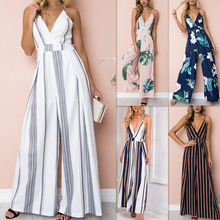 Newest Summer Casual Women V Neck Loose Playsuit Party Ladies striped loose Short Sleeve Long Jumpsuit