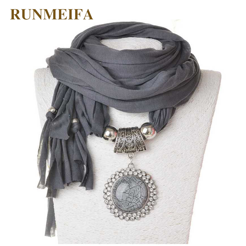 RUNMEIFA Long Scarves Pendant Necklace Solid Women Oval Shaped Charm With Big Glass Stones Scarves 5 Colors Available