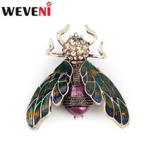 WEVENI Antique Bronze Bee Insect Alloy Brooch Rhinestone Pin For Women Ladies Decoration Accessories Fashion Jewelry Sequin Gift(China)