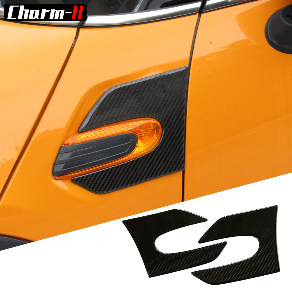 2 Pieces Genuine Carbon Fibre Car Side Wing Scuttle Fender Styling Stickers left and right for
