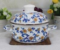 Japanese porcelain enameled small flower flat milk pot cooker general baby food thick bowl instant noodle bowl soup pan